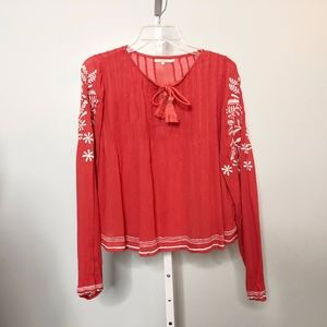 Tularosa Small Floral Embroidered Blouse